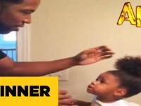 Папа накрутил дочери прическу…