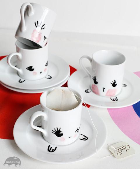 Делаем милые чашки для домашнего чаепития с детьми