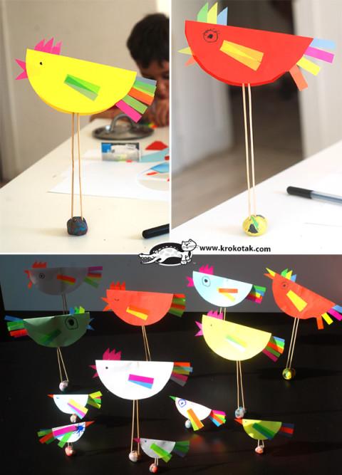 Делаем декоративных птичек из цветных канцелярских стикеров