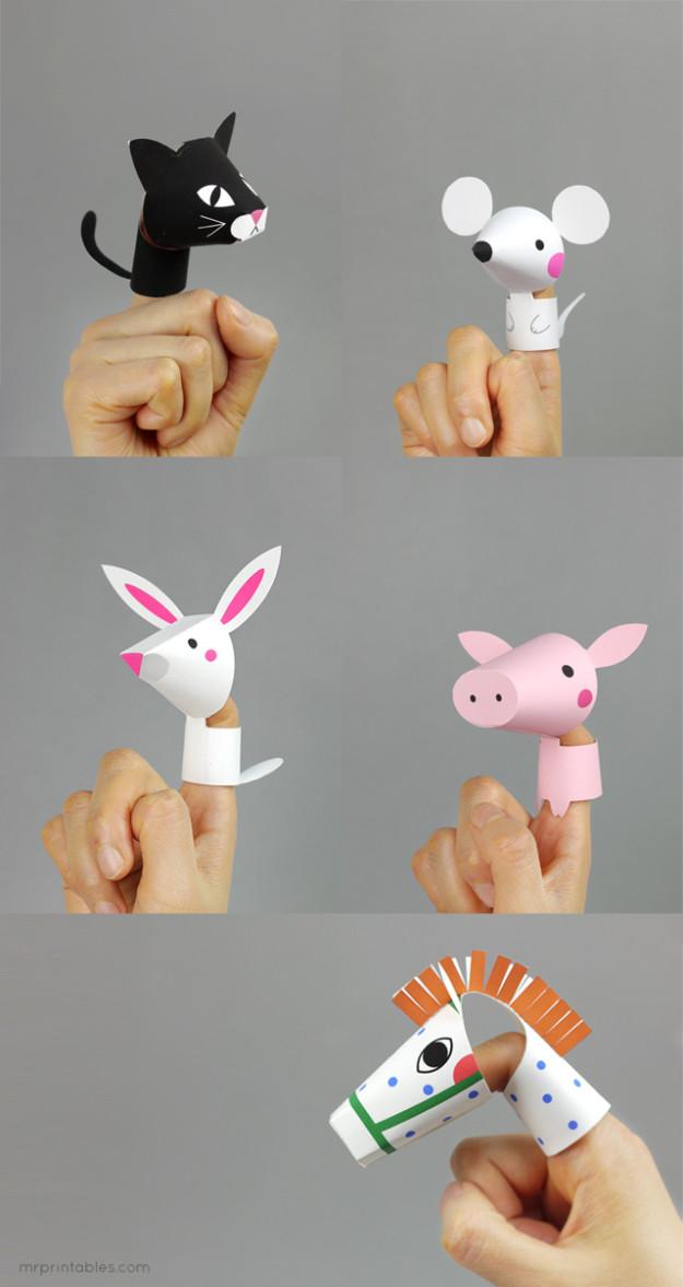 Пальчиковый театр из бумаги шаблоны. Пальчиковые Пальчиковые животные своими руками