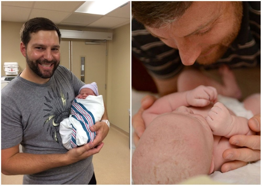 знакомство папы с новорожденным