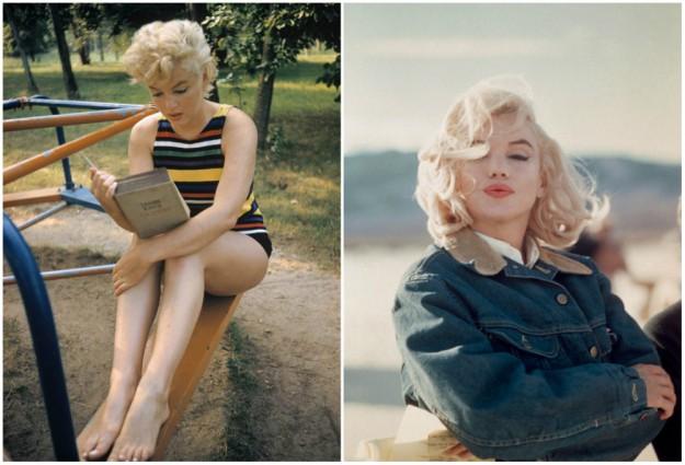 """Меэрилин читает произведение Джеймса Джойса """"Улисс"""" (слева). Справа на съемках фильма """"Неприкаянные""""."""