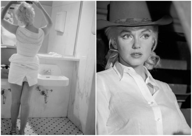 """Слева актриса в ванной аэропорта Чикаго; справа на съемках фильма """"Неприкаянные""""."""