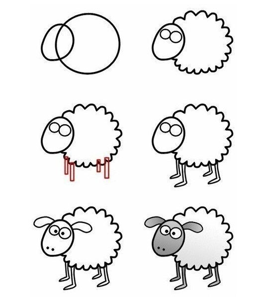 Схема рисования животных для малышей