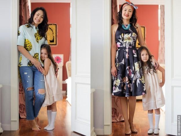 дочь одевает маму