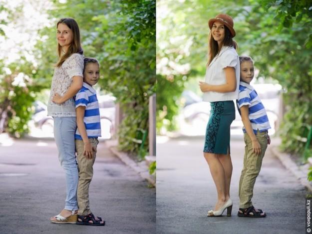 ребенок одел маму сам
