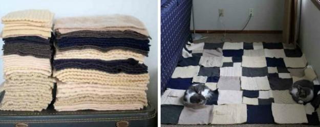 Плед из разных свитеров2
