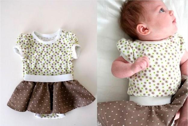 Из круглого кусочка ткани и резинки можно сделать вот такую милую юбочку для маленькой дочки