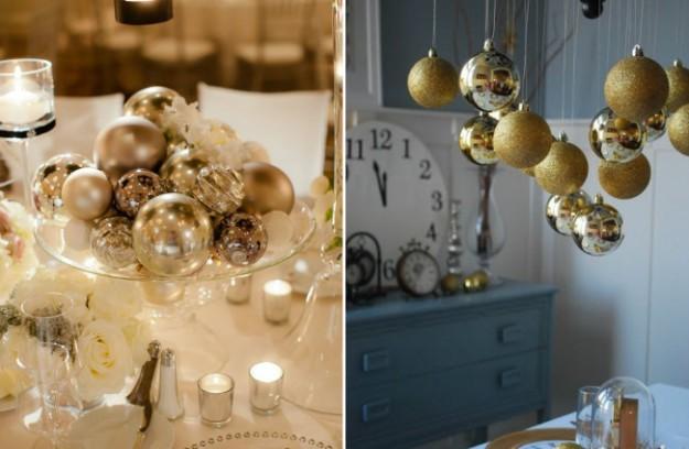 Можно поставить в центре стола блюдо с золотыми шарами