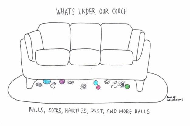 Что у нас под диваном мячики, носки, пыль, игрушки и снова мячики