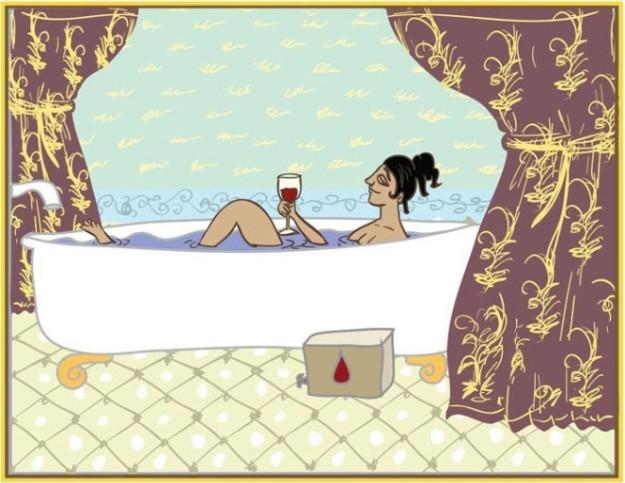 Минуты покоя. Это поза, когда женщина остается одна, ложится в ванну и потягивает любимое полусладкое...