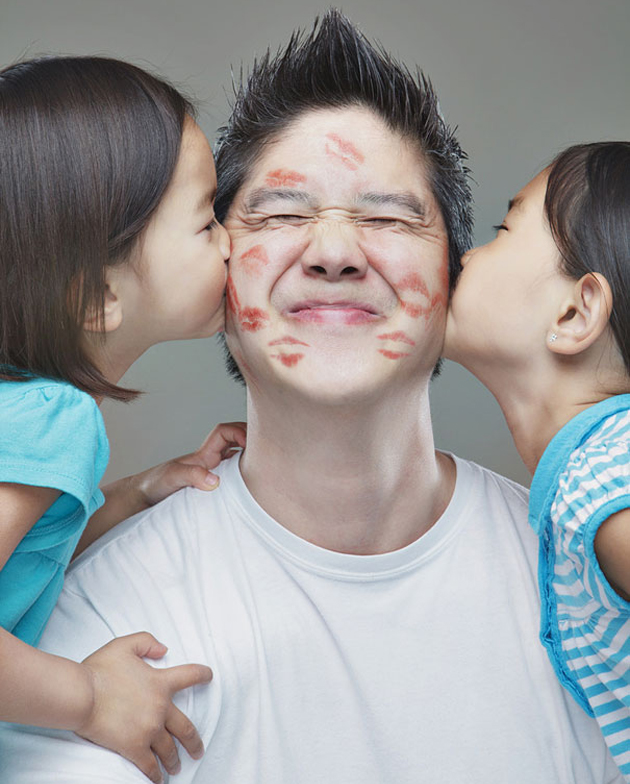 папа с дочками