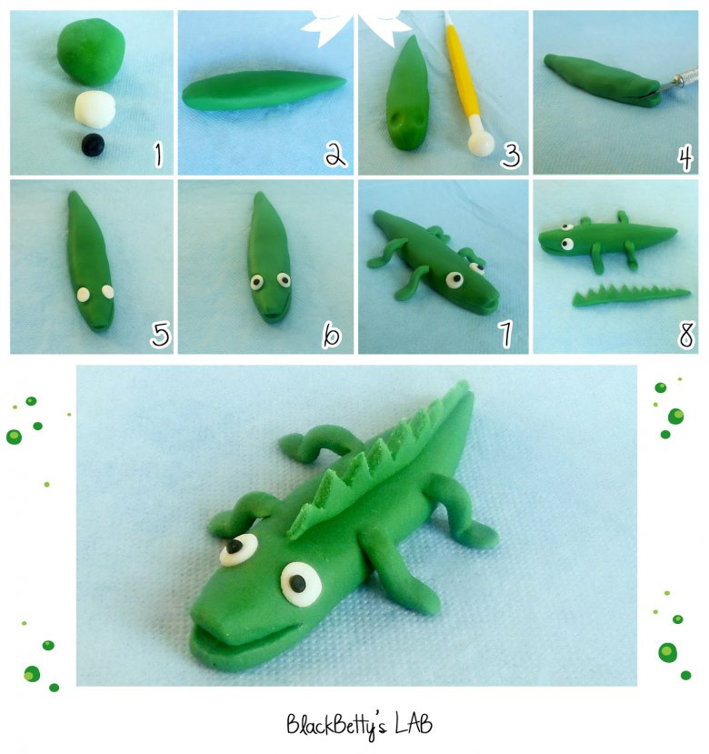 уроки лепки крокодил