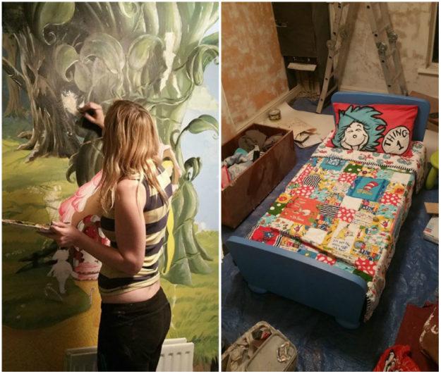 мама раскрасила дочери комнату