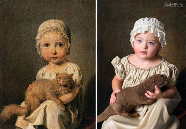 Габриэль Арно в детстве с кошкой, Луи Буальи