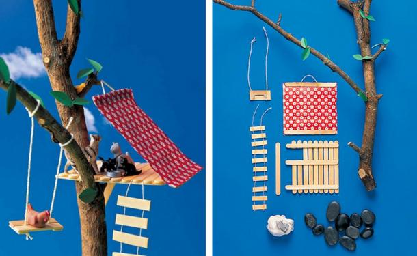 Игрушечный домик на дереве с лесенкой и качелей