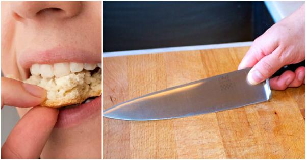 Перед тем, как резать лук, зажмите в зубах ломоть хлеба и вы не будете плакать в процессе