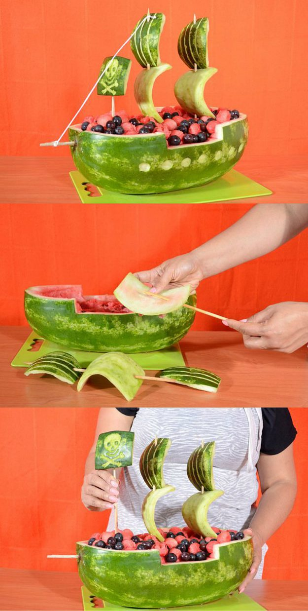 как сделать кораблик из арбуза