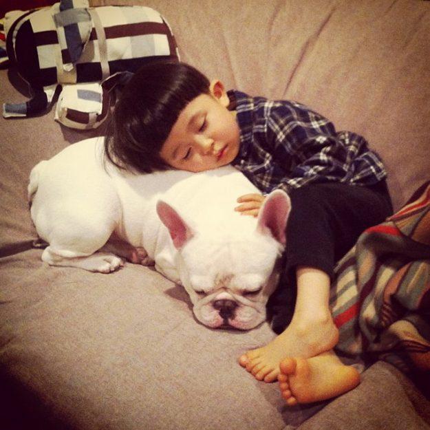 японский мальчик и собака