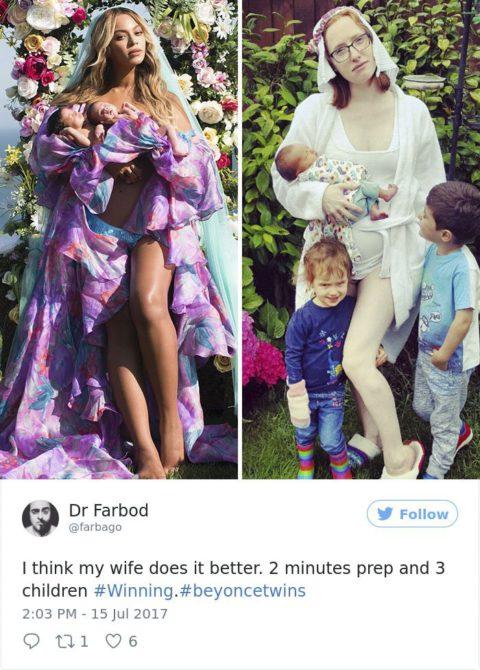 Первую фотосессию Бейонсе с новорожденными близнецами начали пародировать в Сети