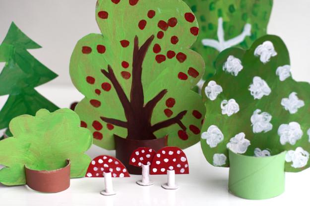 Дерево из бумаги своими руками для детей из руки 26