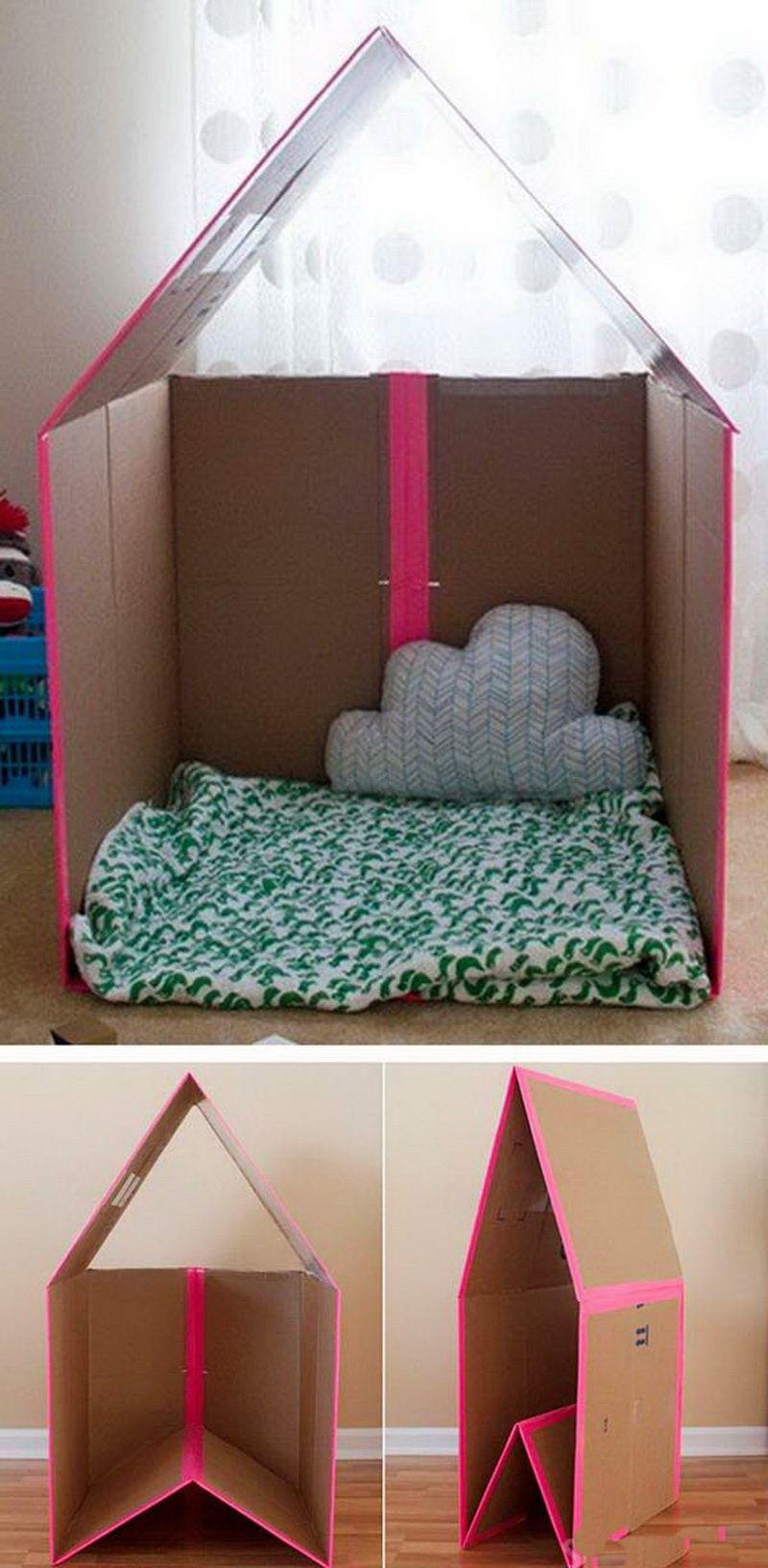 Как сделать детский уголок из картонных коробок