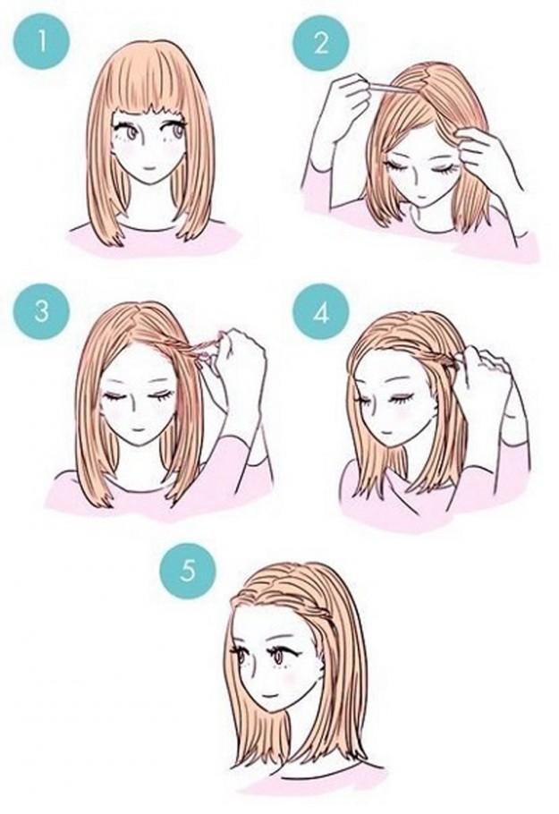 Лёгкие причёски для длинных волос с челкой своими руками
