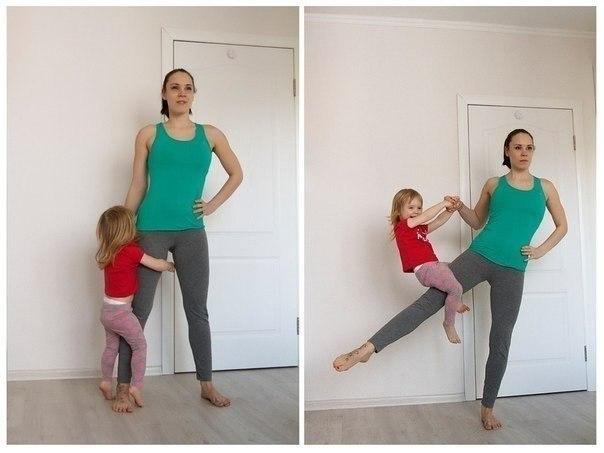 Домашний фитнес для мам с участием ребенка