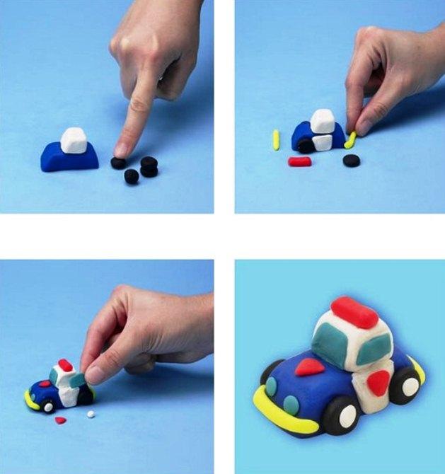 Машины из пластилина поэтапно
