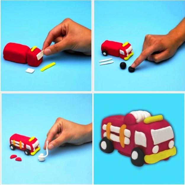 Машинка из пластилина картинка детям