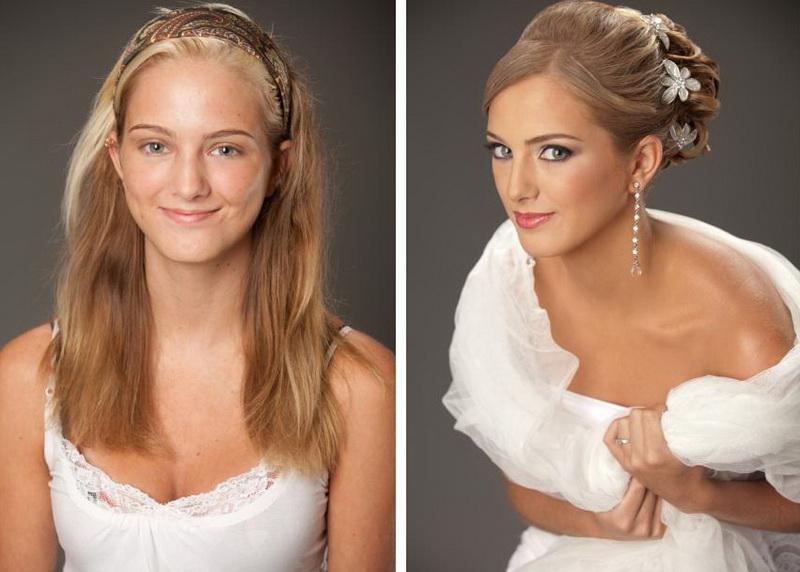Фото свадебный макияж до и после