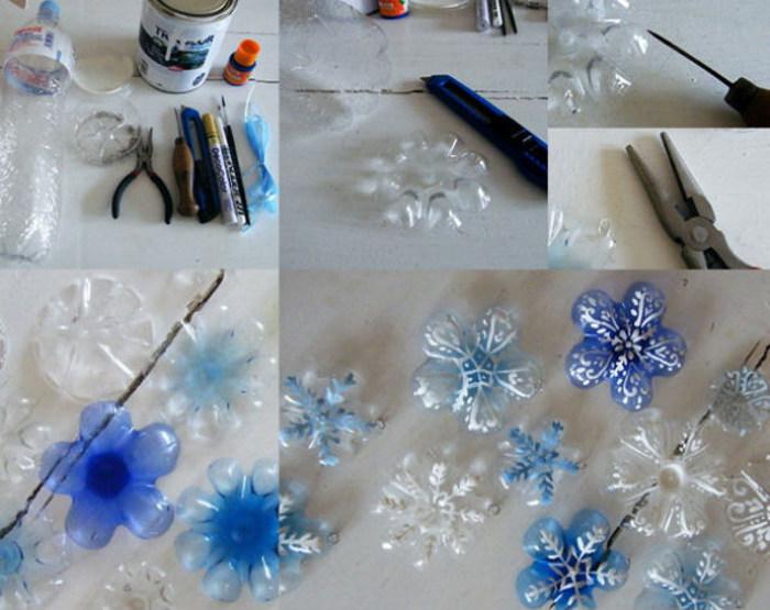 снежинки из бутылок