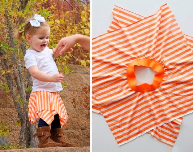 Два ярких квадрата ткани и резинка - и милая юбка для дочки готова