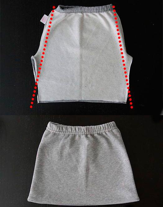 Из спортивных штанов можно сделать классную юбку с карманом-кенгуру2