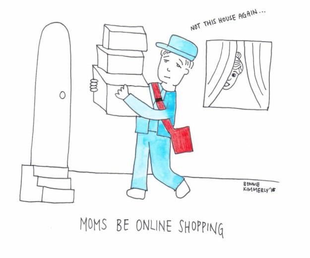 Как мамы успевают покупать малышам новые вещи Они занимаются онлайн-шопингом и все курьеры знакомы с ними
