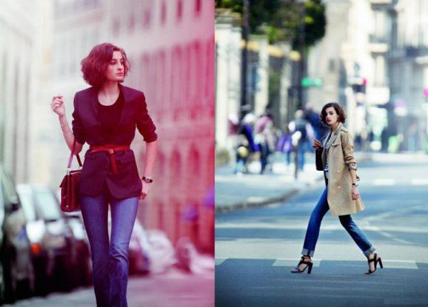 Сочетание в одежде, которое встречается у француженок чаще всего - прямые джинсы с джемперами или блузками свободного кроя