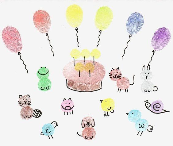Открытка пальчиковыми красками на день рождения 79