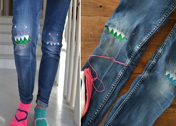 Как красиво сделать заплатки на коленках
